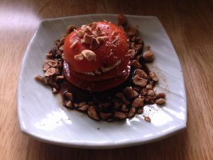 Persimmon, Goat Cheese, Toasted Hazelnut Salad with Balsamic Vinegar
