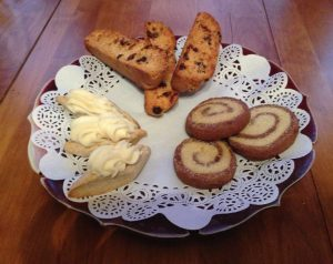 THREE CHRISTMAS COOKIES SURE TO PLEASE, Buche avec Neige, Chocolate Lemon Swirl , Craisin Chocolate Chip Biscotti